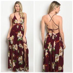 Dresses & Skirts - New maroon floral slit Maxi Dress